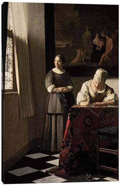 Lady Writing A Letter With Her Maid Canvas Art Print