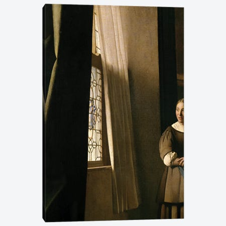 Lady Writing A Letter With Her Maid (Detail) Canvas Print #BMN9222} by Jan Vermeer Canvas Print