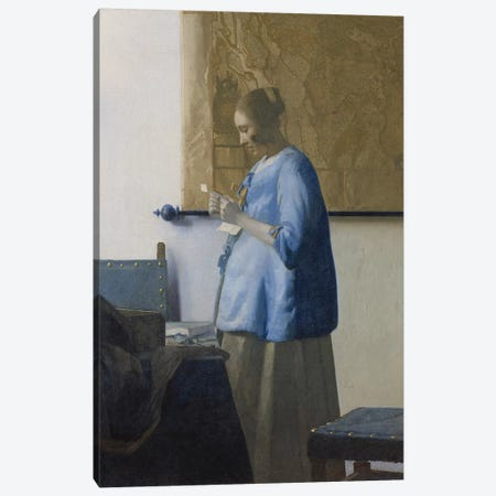 Woman Reading a Letter, c.1662-63 Canvas Print #BMN9229} by Jan Vermeer Art Print