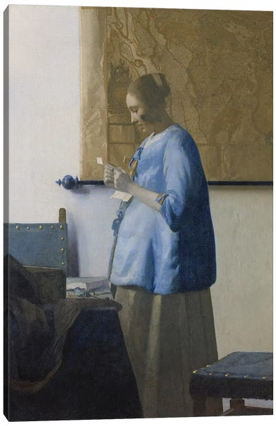Woman Reading a Letter, c.1662-63 Canvas Art Print