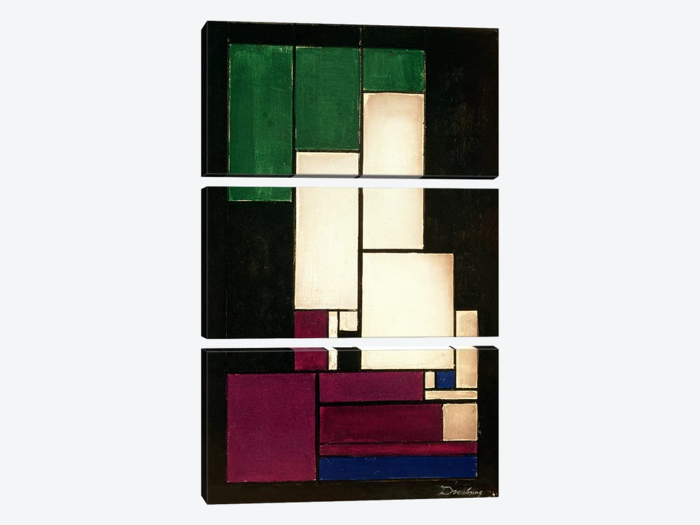 Composition, 1922 by Theo Van Doesburg 3-piece Canvas Print