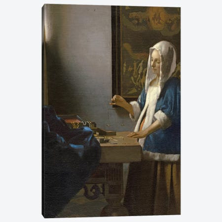 Woman Holding a Balance, c.1664 Canvas Print #BMN9231} by Jan Vermeer Canvas Artwork