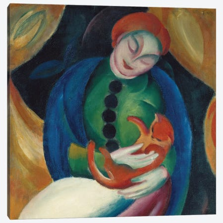 Girl with a Cat II, 1912 Canvas Print #BMN9234} by Franz Marc Canvas Art Print