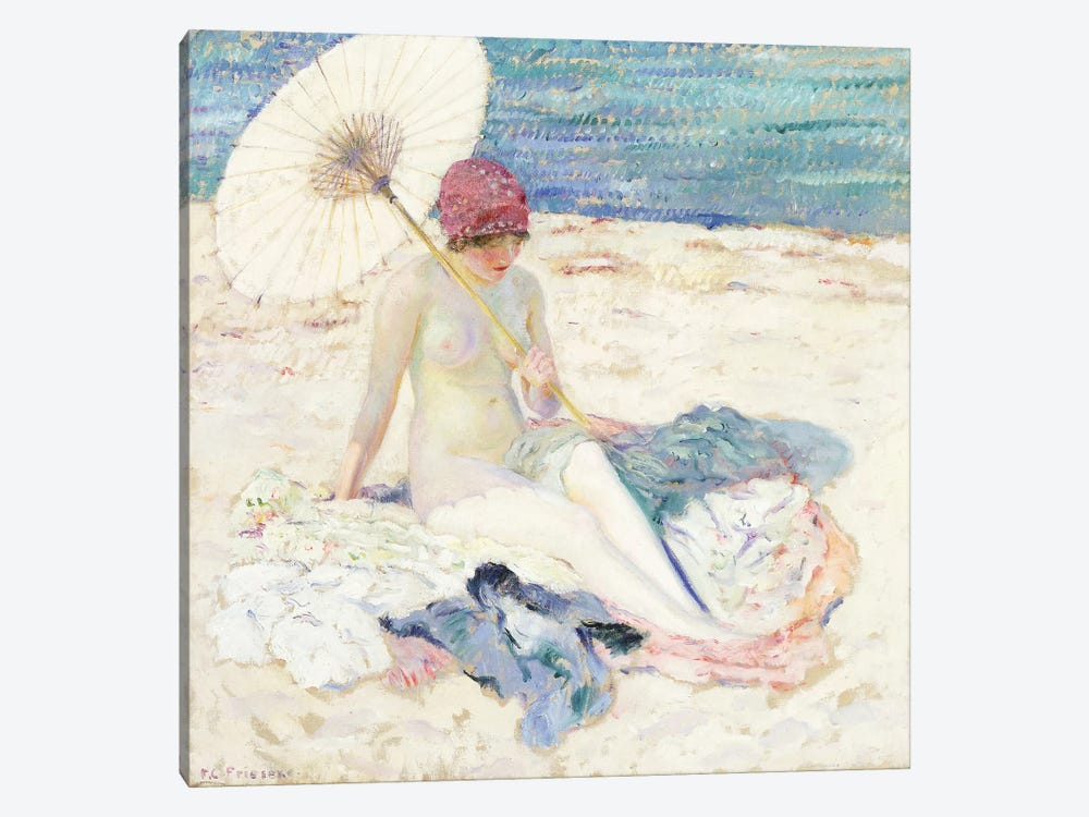 On the Beach, 1913 by Frederick Carl Frieseke 1-piece Canvas Print