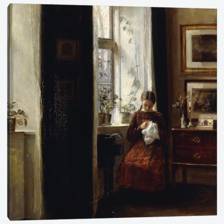 A Young Girl Sewing, Canvas Print #BMN9238} by Carl Holsoe Canvas Art