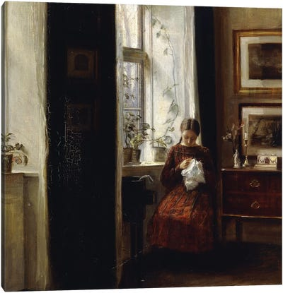 A Young Girl Sewing, Canvas Art Print