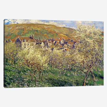 Plum Trees In Blossom, 1879 3-Piece Canvas #BMN923} by Claude Monet Canvas Art Print
