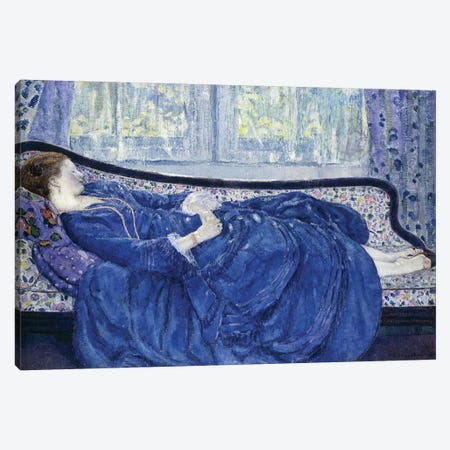Girl in Blue, 1917 Canvas Print #BMN9242} by Frederick Carl Frieseke Art Print