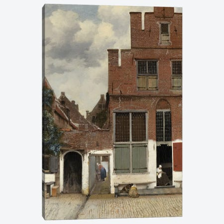 View of Houses in Delft, known as 'The Little Street', c.1658 Canvas Print #BMN9243} by Jan Vermeer Canvas Print