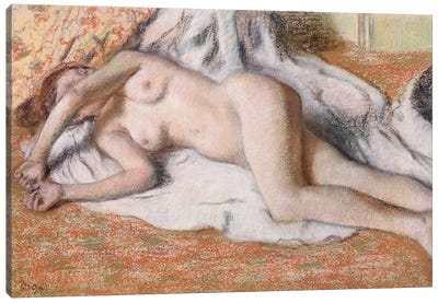 After the Bath or, Reclining Nude, c.1885 Canvas Art Print