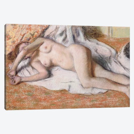 After the Bath or, Reclining Nude, c.1885 Canvas Print #BMN9245} by Edgar Degas Canvas Wall Art