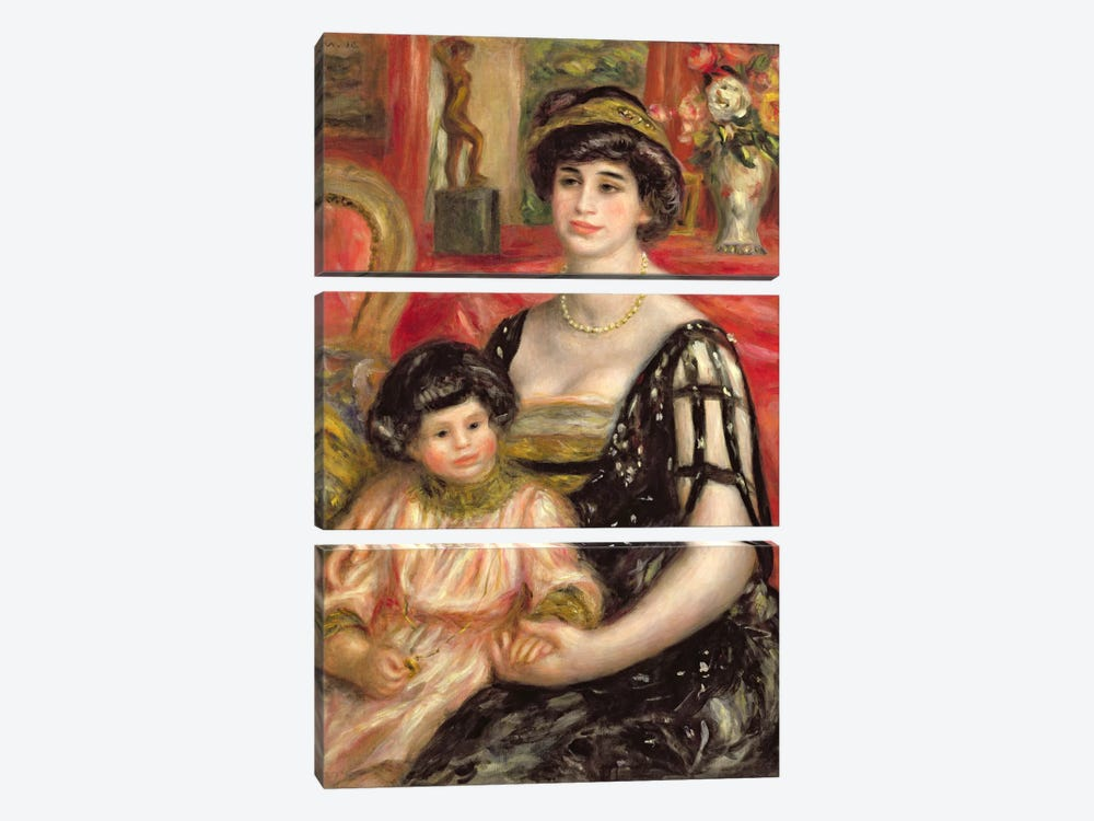 Madame Josse Bernheim-Jeune and her Son Henry, 1910 by Pierre-Auguste Renoir 3-piece Canvas Print