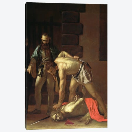 The Decapitation of St. John the Baptist, 1608 Canvas Print #BMN9252} by Michelangelo Merisi da Caravaggio Canvas Artwork