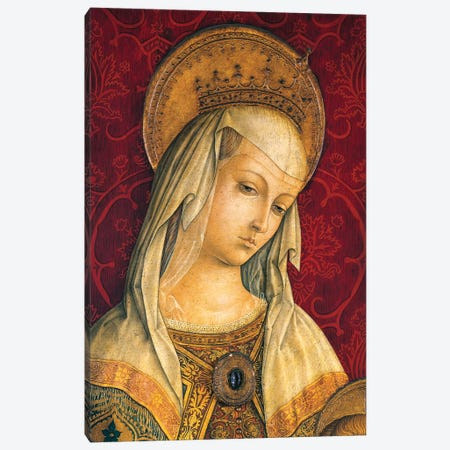 Madonna's face, detail from central panel of Triptych of Camerino Canvas Print #BMN9256} by Carlo Crivelli Art Print