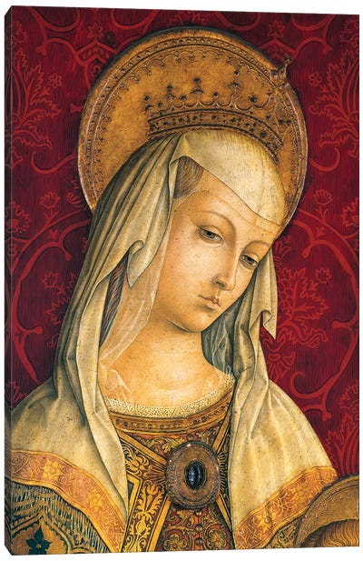 Madonna's face, detail from central panel of Triptych of Camerino Canvas Art Print