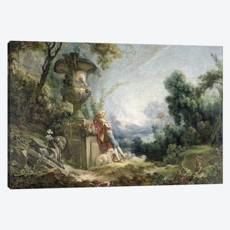 Pastoral Scene, or Young Shepherd in a Landscape Canvas Print #BMN925} by Francois Boucher Canvas Art