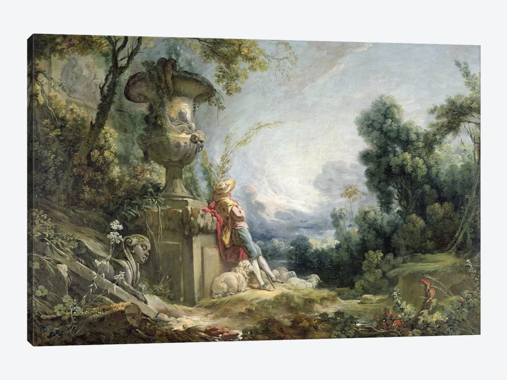 Pastoral Scene, or Young Shepherd in a Landscape by Francois Boucher 1-piece Canvas Artwork