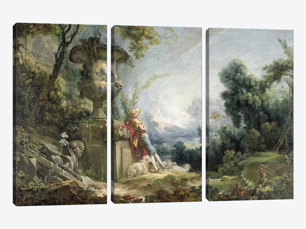 Pastoral Scene, or Young Shepherd in a Landscape by Francois Boucher 3-piece Canvas Art
