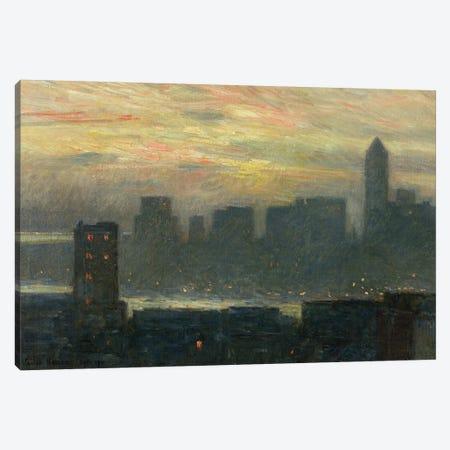 Manhattan's Misty Sunset, 1911 Canvas Print #BMN9261} by Childe Frederick Hassam Canvas Art Print