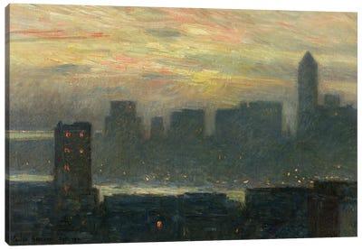 Manhattan's Misty Sunset, 1911 Canvas Art Print