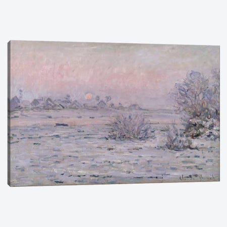 Snowy Landscape at Twilight, 1879-80  Canvas Print #BMN927} by Claude Monet Canvas Artwork