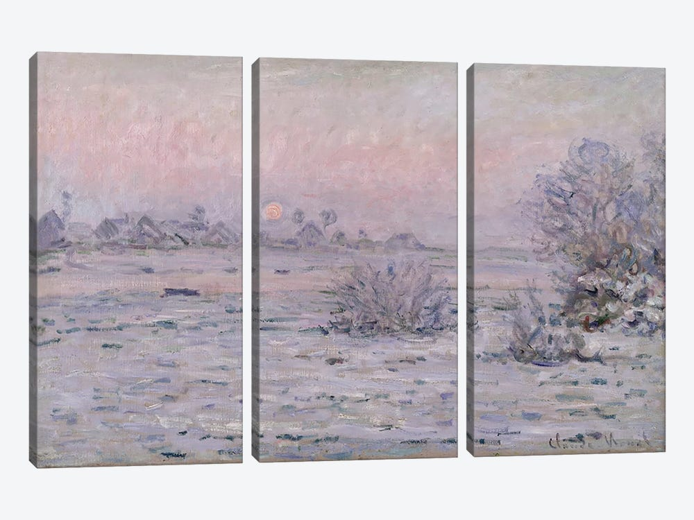 Snowy Landscape at Twilight, 1879-80 by Claude Monet 3-piece Canvas Wall Art