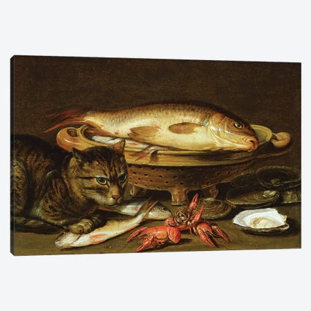 A still life with carp in a ceramic colander, oysters, crayfish, roach and a cat on the ledge beneath Canvas Print #BMN9294} by Clara Peeters Art Print