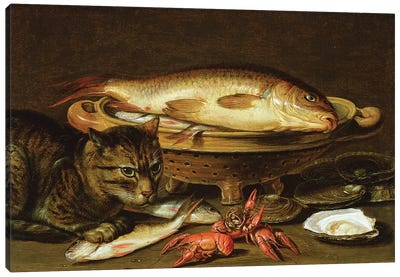 A still life with carp in a ceramic colander, oysters, crayfish, roach and a cat on the ledge beneath Canvas Art Print