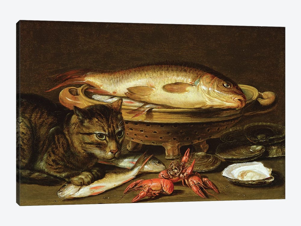 A still life with carp in a ceramic colander, oysters, crayfish, roach and a cat on the ledge beneath by Clara Peeters 1-piece Canvas Art