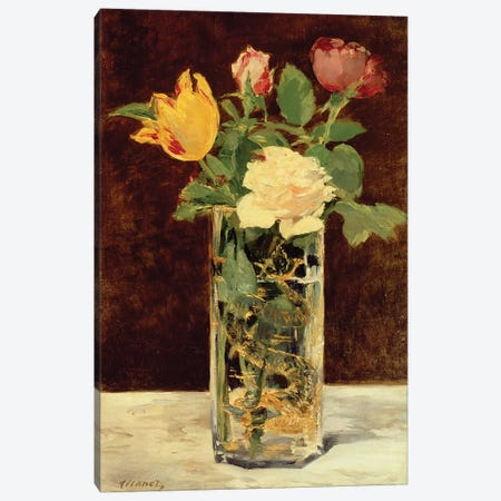 Roses and Tulips in a Vase, 1883 Canvas Print #BMN9308} by Edouard Manet Canvas Art