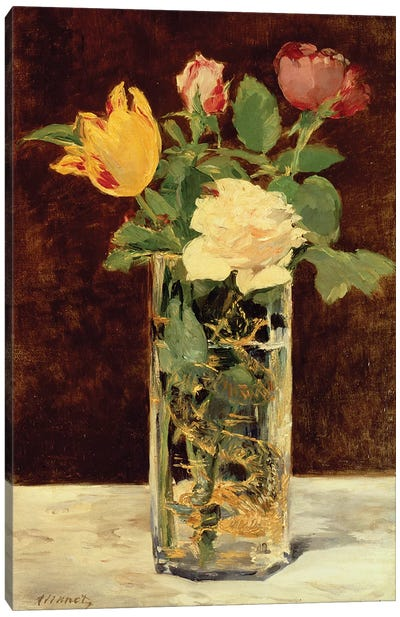 Roses and Tulips in a Vase, 1883 Canvas Art Print