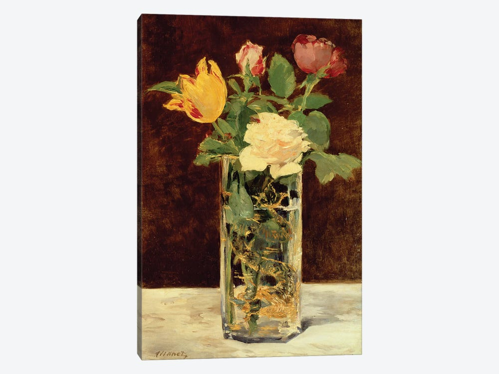 Roses and Tulips in a Vase, 1883 by Edouard Manet 1-piece Canvas Artwork