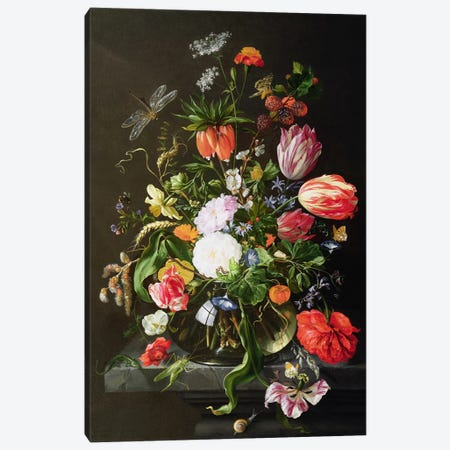 Still Life of Flowers Canvas Print #BMN930} by Jan Davidsz de Heem Canvas Wall Art