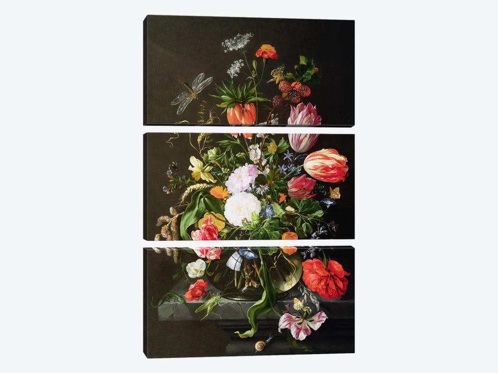 Still Life of Flowers by Jan Davidsz de Heem 3-piece Canvas Wall Art