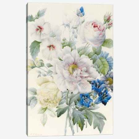 A Bunch of Flowers including a Peony, Roses, Hibiscus, Asters, Gentian and an Imaginary Blue Butterfly 3-Piece Canvas #BMN9313} by Pierre-Joseph Redouté Canvas Print