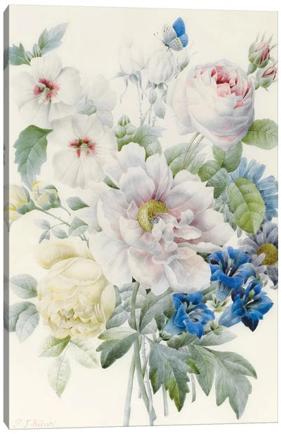 A Bunch of Flowers including a Peony, Roses, Hibiscus, Asters, Gentian and an Imaginary Blue Butterfly Canvas Art Print