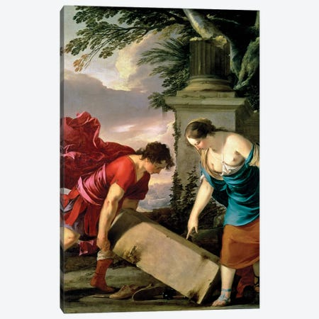 Theseus and his Mother Aethra, c.1635-36  Canvas Print #BMN931} by Laurent de La Hyre Canvas Art