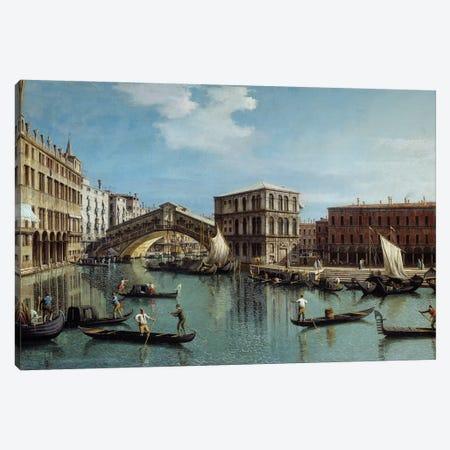 Le pont du Rialto a Venice Painting Canvas Print #BMN9320} by Canaletto Canvas Wall Art