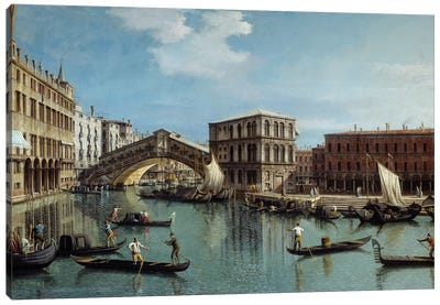 Le pont du Rialto a Venice Painting Canvas Art Print