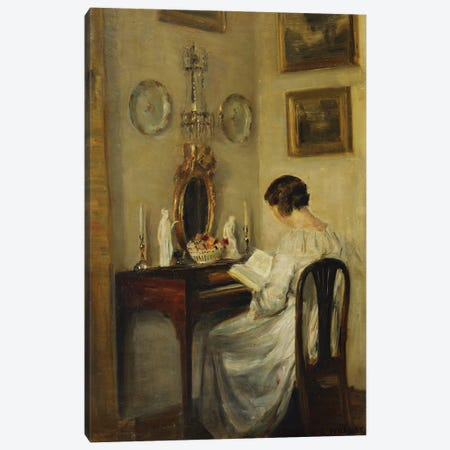 An Interior with a Girl Reading at a Desk Canvas Print #BMN9322} by Carl Holsoe Canvas Art