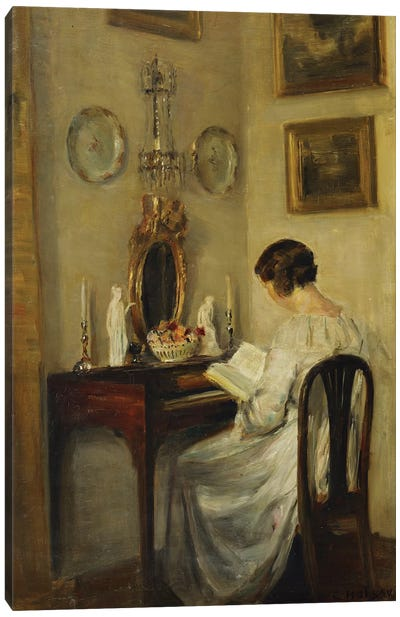 An Interior with a Girl Reading at a Desk Canvas Art Print