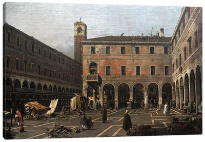 The Campo di Rialto, 1758-1763, by Canaletto . Canvas Art Print