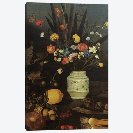Still life with flowers and plants Canvas Print #BMN9341} by Michelangelo Merisi da Caravaggio Canvas Art