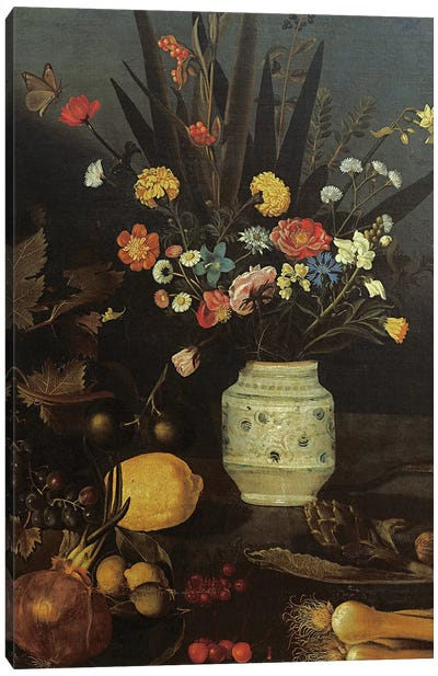 Still life with flowers and plants Canvas Art Print