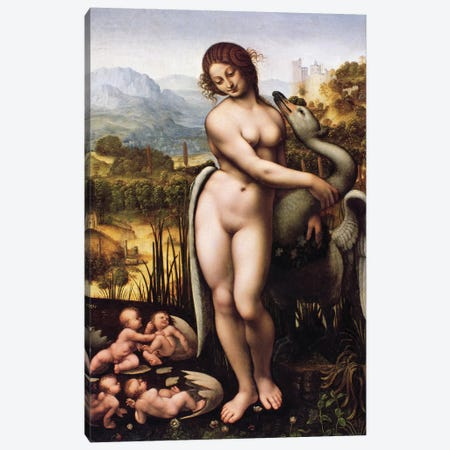 Leda and the Swan Canvas Print #BMN9345} by Cesare Da Sesto Art Print