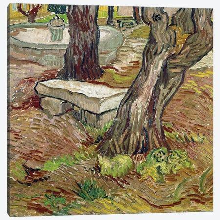 The park of the Saint Paul asylum in Saint-Remy  or Bench de Pierre Canvas Print #BMN9353} by Vincent van Gogh Canvas Print