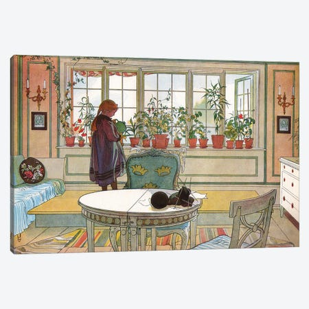 Flowers on the Windowsill, from 'A Home' series, c.1895 Canvas Print #BMN9362} by Carl Larsson Canvas Art