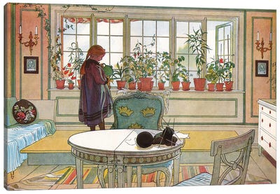Flowers on the Windowsill, from 'A Home' series, c.1895 Canvas Art Print