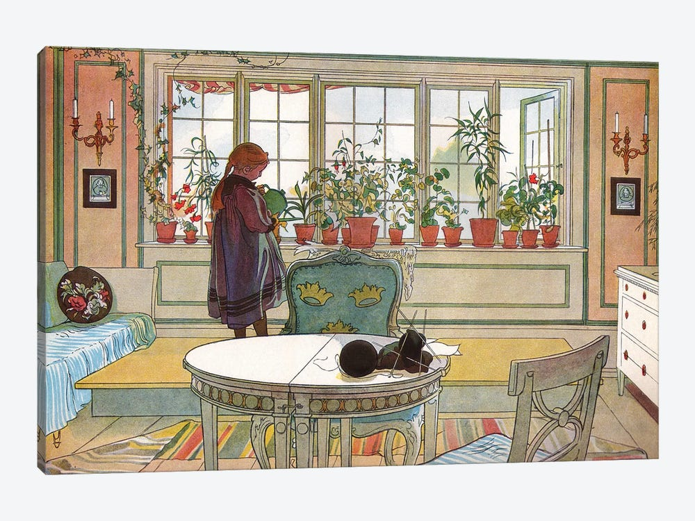 Flowers on the Windowsill, from 'A Home' series, c.1895 by Carl Larsson 1-piece Canvas Artwork