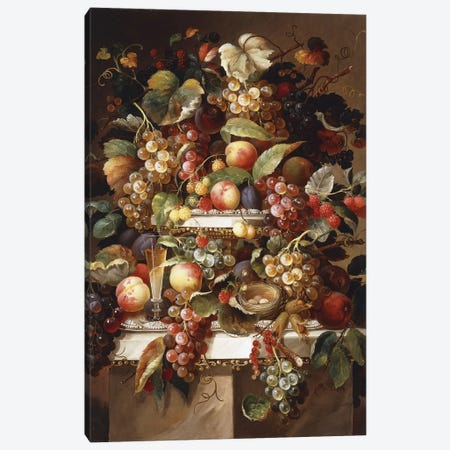Still Life with Grapes and Peaches, Canvas Print #BMN9364} by Charles Baum Canvas Print